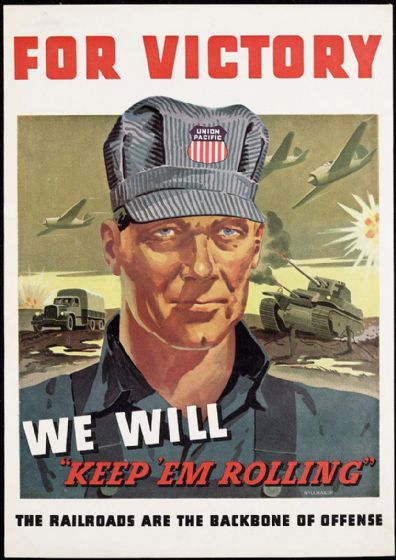 For Victory. US Railroad/Transport Wartime Print/Poster. Sizes: A4/A3/A2/A1 (003113)